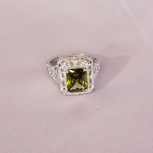 Silver Antique (faux) Peridot Ring